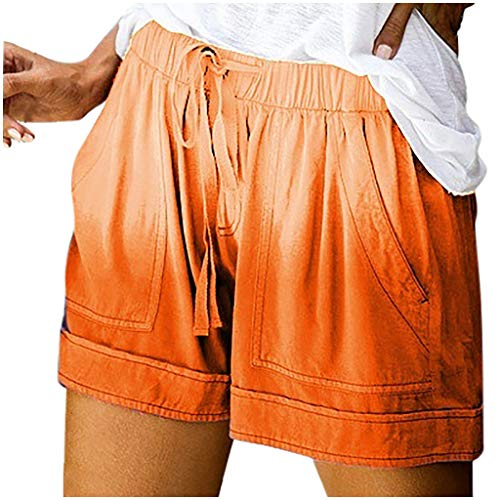 Lowest Price! Toxz Summer Womens Solid Color Elastic Band Waist Pocketed Loose Shorts Pants Orange