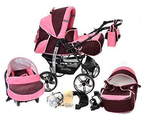 Baby Sportive - Passeggino 3-in-1 da viaggio con seggiolino auto e accessori, colore: Rosso scuro Rosa