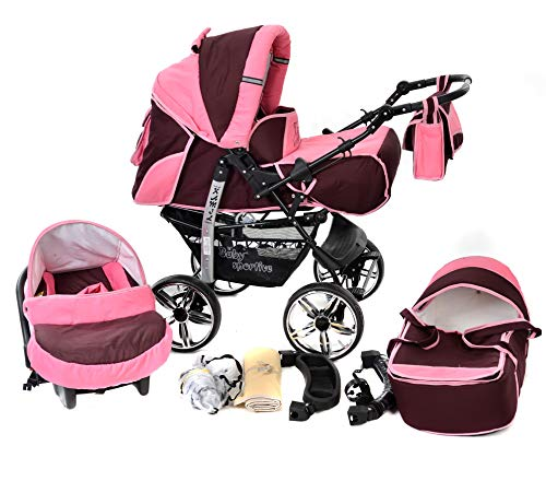 Kamil, Classic 3-in-1 Travel System with 4 STATIC (FIXED) WHEELS incl. Baby Pram, Car Seat, Pushchair & Accessories (3-in-1 Travel System, Dark Red & Pink)