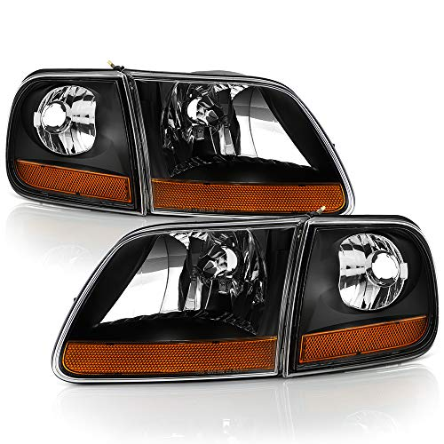 ACANII - For 1997-2003 Ford F150 Black Housing [Harley Davidson Style] Headlights w/Corner Lights Assembly Left+Right