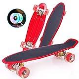 Duanyu Penny Board, 22 pulgadas 10 años Skateboard adulto para niños, monopatín con rueda luminosa Cruiser portátil para adolescentes principiantes niñas niños (Dynamic Red)