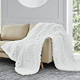 Sunyrisy Chunky Knit Throw Blanket, Luxury Soft Cozy Chenille Throw Blanket, Large Throw Bed Blanket for Couch, Sofa, Home Decor,Gift - Machine Washable (White 40x48 in)
