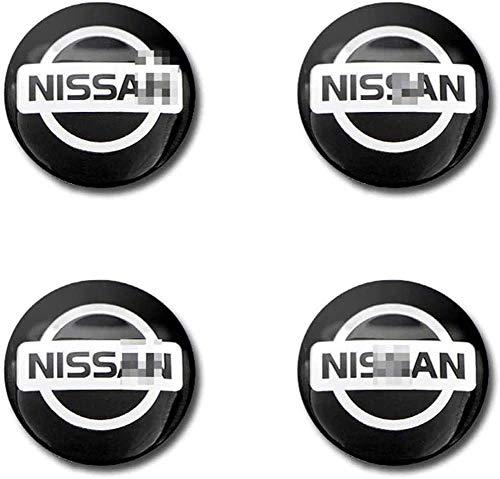4 Piezas 56MM Auto Tapas centrales para llantas Pegatinas,Tapacubos Pegatinas para Nissan X-Trail Almera Qashqai Tiida Teana impermeable Antióxido decoración Accesorios