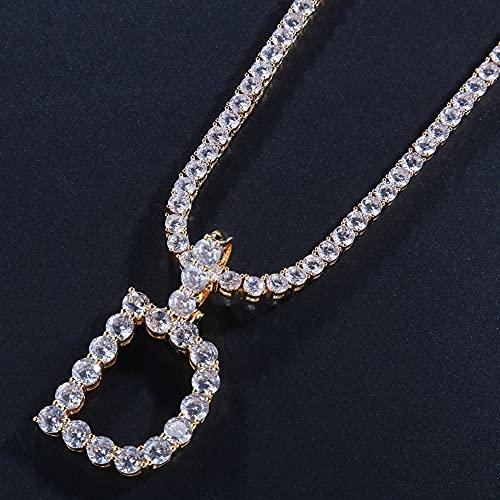 YUNHE Venta 26 Letras Iniciales Cobre Letras de Cristal Helado con Collar de Cadena Encantos Unisex de Oro Regalo de joyería de Lujo