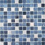Mosaico de acero inoxidable traslúcido, mosaico de cristal, acero negro, para cocina, baño, 10...
