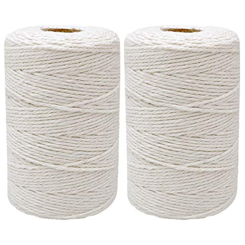 400 Meters/1312 Feet Cotton String,12-Ply Natural White String,Bakers Twine for Tying Homemade Meat,Making Sausage,DIY Craft and Gardening Applications