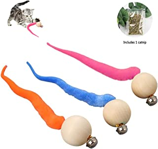 Fun Meows Interactive Cat Worms Ball with Bell, The Best Brightly Colored Cat Toys with Bells, Health Sport for Your Cat.Safe for Your Kitty, Pack of 3 and 1 Catnip