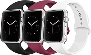 iGK Sport Band Compatible with Apple Watch 38mm 40mm 42mm 44mm, Soft Silicone Sport Strap Replacement Bands for iWatch Apple Watch Series 5, Series 4, Series 3, Series 2, Series 1
