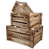 belle vous cassette legno con manici (3pz) - cestini portaoggetti legno rustico decorativi piccole, medie, grandi dimensioni - scatola porta oggetti da esposizione per casa - cassetta legno sweet home