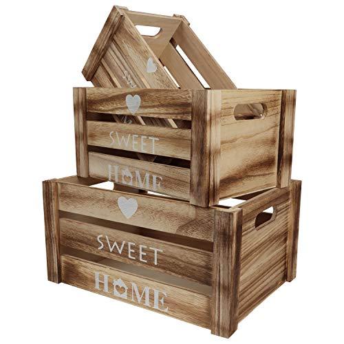 BELLE VOUS Holz Deko Aufbewahrungskiste Holz Holzkisten Obstkisten Aufbewahrungskiste mit Griffen und Home Sweet Home Deko (3er Set) Dekorative Aufbewahrungsbox Holz
