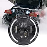 7' Runder LED-Scheinwerfer, 75W Wasserdichter Angel Eye Ring DRL & Bernsteinfarbener Blinker...