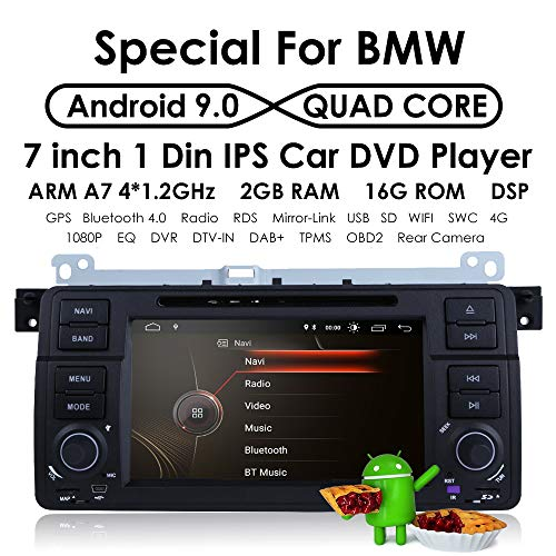 Android 9.0 OS Quad Core 1024600 HD Touchscreen Car Radio DVD Player with GPS Navigation fit for BMW 3 Series E46 M3 318 320 325 330 335
