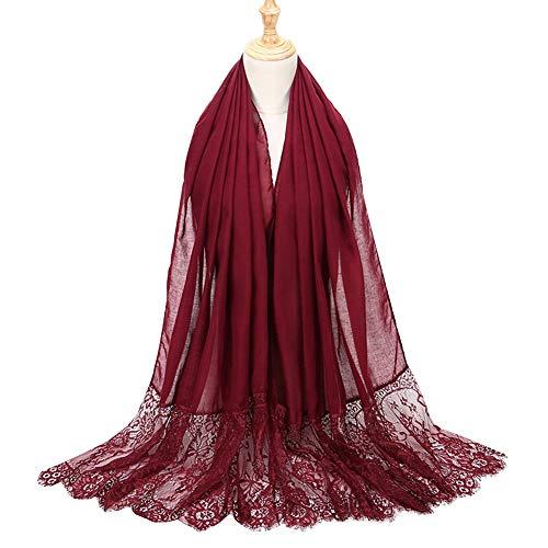 Lsgepavilion Bufanda de chal, de encaje con flores, musulmana islámica, chal, turbante hijab, a prueba de viento y cálido, color rojo violáceo
