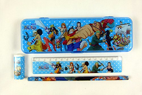 Kawaii Manga Style Stationery Plastic Pencil Case, Pencil, Rubber and Ruler Set - Blue