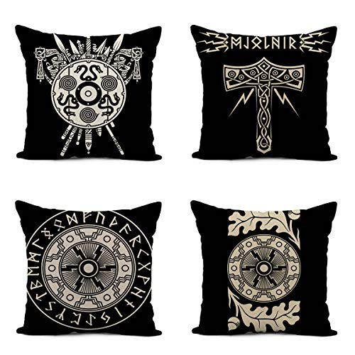 Ansouyi Set of 4 Linen Throw Pillow Cover 18x18 Inch Viking Shield Swords Medieval Weapons Spears of Warriors Celtic Scandinavian Thor Home Decor Pillowcase Square Cushion Cover for Sofa Bed Couch