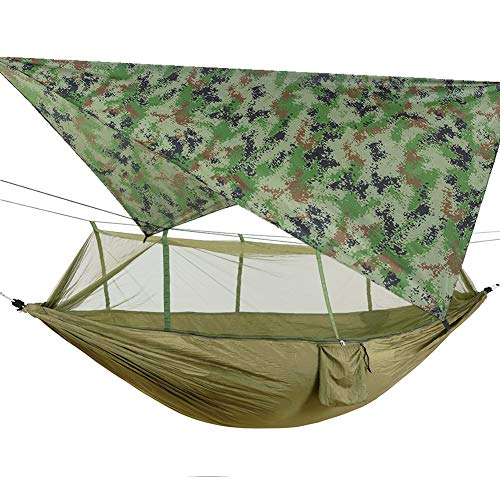 Portable Hammock with Mosquito Net, Ultralight Waterproof Nylon Camping Hammock Tarp Rain Fly Tent Picnic Cloth, 2 Person Hammock with Tree Straps for Hiking Backpacking Travel Beach(ArmyGreen+Camo)