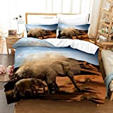 clothingZHY Bedding Sets,3D Digital Printing 2/3 Piece Set of Simulation Animal Elephant Stereo DIY Duvet Cover, Adult Boy and Girl Bedding Kit, Single/Double Bed Duvet Cover and Pillowcase Printing