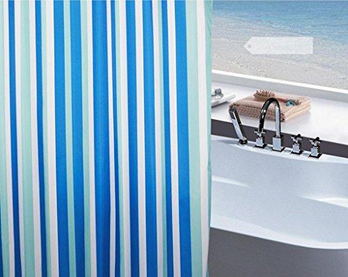 GYMNLJY Blaue Streifen Duschvorhang Polyester wasserdicht verdicken Duschvorhänge, die Badezimmerdekoration hängen Vorhang abgeschnitten , 180*180