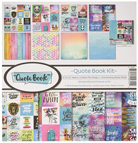 Reminisce REMBC QB200 Quote Book Scrapbook Collection Kit Multi Color Palette