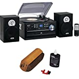 Jensen 3 Speed Stereo Turntable w CD System, Cassette & AM/FM Stereo Radio with RCA Turntable Cleaning System