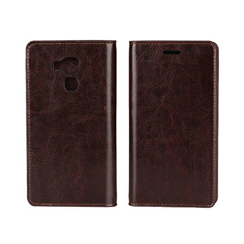 Sunrive Für Huawei Honor 5C, Echt-Ledertasche Schutzhülle Etui Hülle mit Standfunktion Flip Lederhülle Cover Hülle Handyhülle Schalen Handy Tasche(braun)+Gratis Universal Eingabestift