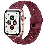 AYOU Correa Compatible con Apple Watch 44mm 42mm 40mm 38mm, Pulseras de Repuesto de Silicona Suave para iWatch Series SE 6 5 4 3 2 1 Mujer Hombre (38mm/40mm S/M, Vino Rojo)