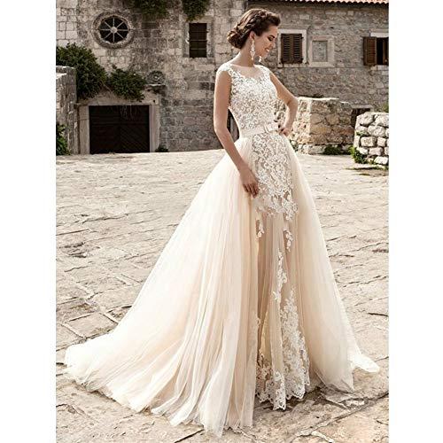 HIN GU - Wedding dress Hochzeitskleid Brautkleid Champagner Vintage Sexy Spitze Abnehmbarer Rock Brautkleid (Color : Champagne, US Size : 6)