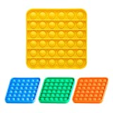 NiHealth Fidget Pack 4-Pack Push Pop Bubble Fidget Sensory Toy, Fidget Toys for Stress Anxiety Relief, Bubble Popper Fidget Toy, Silicone Squeeze Toy for Kids Adults (4 Colors Square)