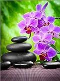 Póster 50 x 70 cm: Zen Basalt Stones and Orchid de Editors Choice - impresión artística, Nuevo póster artístico
