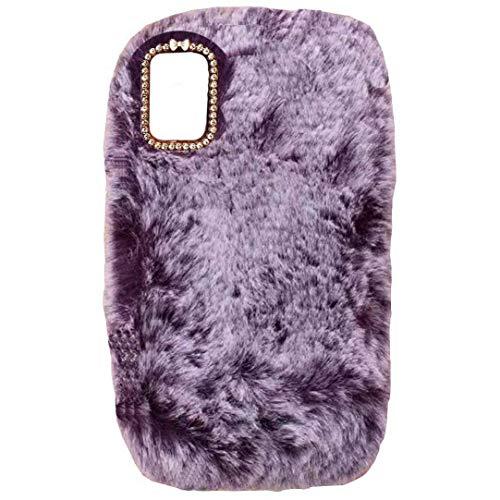 TAITOU - Funda para Galaxy A8 A800, hecha a mano con lana mullida Villi, linda cola de bola para invierno, suave funda para teléfono Samsung Purple
