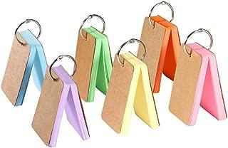 Globaldream Leere Karteikarten 12er-Pack Lernkarten Mini-Leere Karteikarten Mehrfarbenkartenkraftpapier mit Metallbinder-Ring