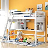 Twin Loft Beds with Desk and Shelves, Wood Bunk Beds with Desk, No Box Spring Needed (White, Twin)