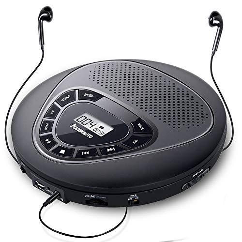 NAVISKAUTO Lettore CD Portatile con doppio altoparlante e cuffie,batteria ricaricabile, 10 Ore di autonomia, Antiurto, supporta CD, MP3, CD-R, CD-RW, AUX, EXTRA BASSO, AUDIOLIBRI
