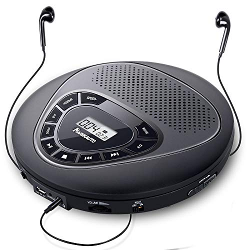 Portable CD Player with Speakers, Rechargeable CD Player for Car with Built-in 1400mAh Battery, Anti-Skip Protection, Backlit Buttons and LED Display