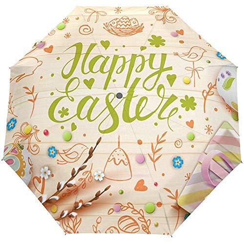 Hallo Willkommen Frühling Frohe Ostern Blumen Blumen Eier Auto Öffnen Schließen Sonne Regen Regenschirm