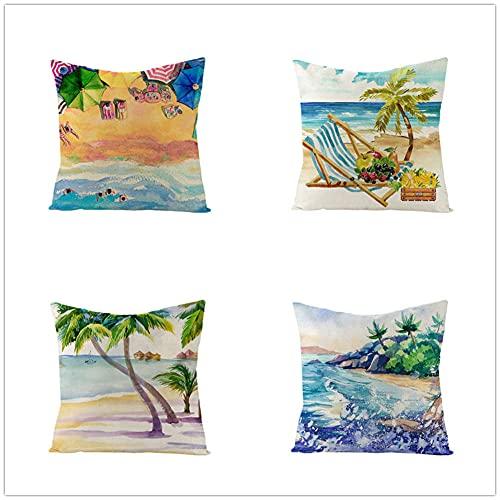 YNGBAAO 4 Pack Throw Pillow Case 60x60cm Funda de Almohada Decorativa Cuadradas Super Suave Doble Cara con Cremallera Invisible para Exterior Sofá Sillón Dormitorio Coche(Playa De Verano,24x24inch)