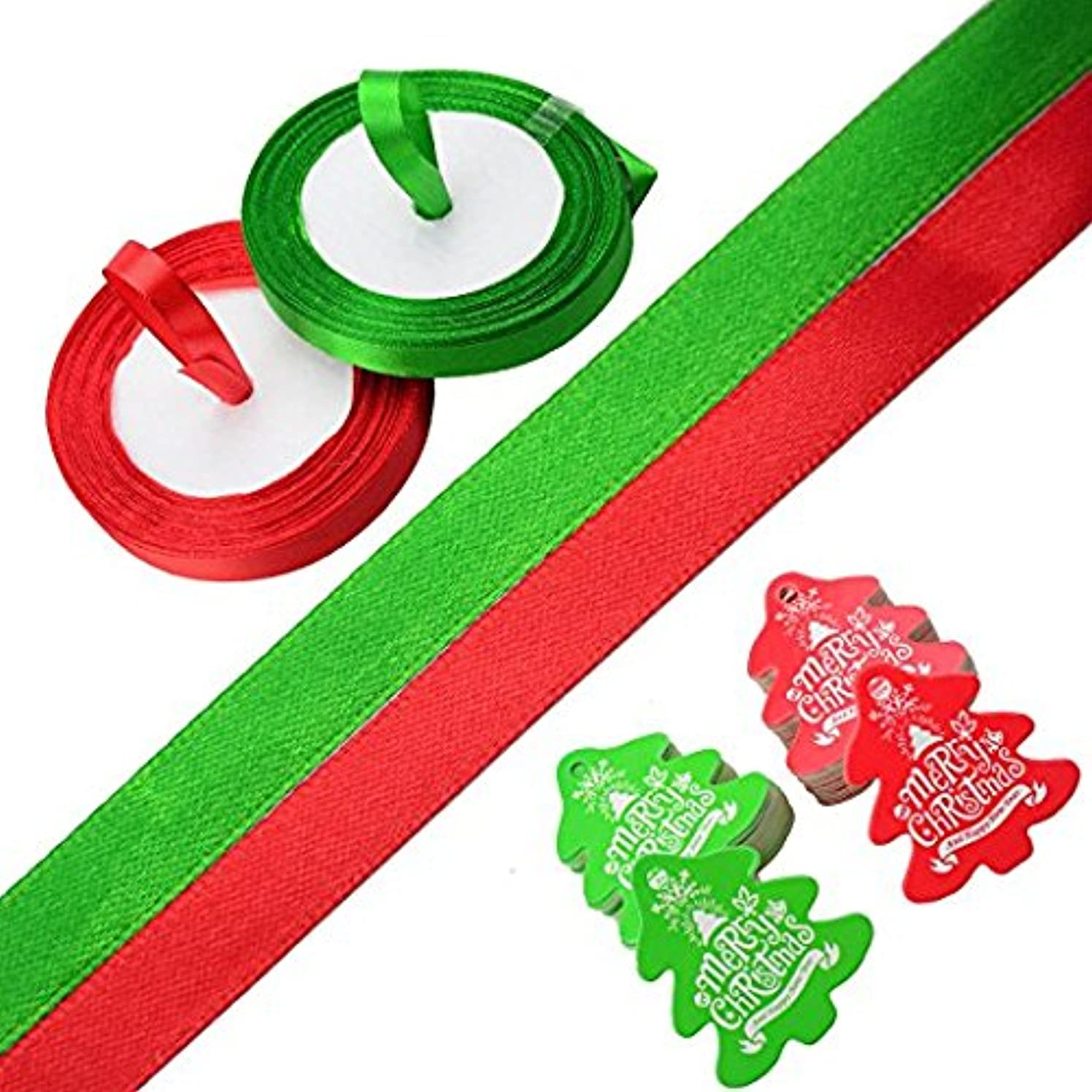 Makhry 100 Pack of Red/Green Xmas Tree Gift Tags with Silky Ribbon for Christmas,Thanksgiving Gift Wrapping Tags Cookie Bakery Candy Biscuit Roasting Gift Tags (Red&Green)