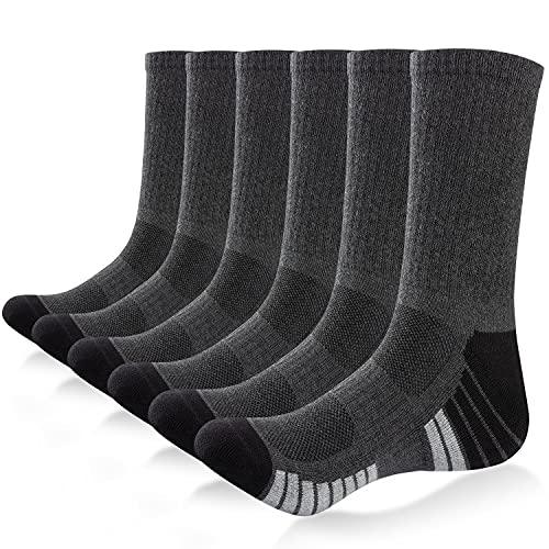 Unisex Wandersocken Sneaker Socken Baumwollsocken,6 Paar Herren Damen Trainer Socken Sportsocken Laufsocken, atmungsaktive Weiche Lange rutschfeste Trekking Socken, Arbeitssocken,Grau,M(39-42)