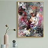 WQHLSH Abstracto Mujer Cara Graffiti Calle Arte Pintura al óleo sobre Lienzo Pósteres y Estampados Pop Wall Art para la Sala de Estar decoración Acuarela 20x28inchx1 Sin Marco
