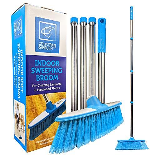 Weicher Kehrbesen mit Edelstahl-Stiel für den Innenbereich - Der perfekte Besen für den Küchenboden Ihres Hauses - Der Kehrbesen mit langem Stiel (Blau)