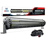 MICTUNING Magical M2 21 Inch Aerodynamic LED Light Bar - 180w Quad Row Off Road Lights 12680lm with 2 Style Adjustable Mounting Brackets and Wiring Harness