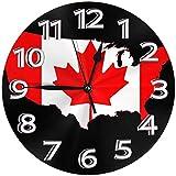 NIUMM Reloj De Pared Bandera Mapa De Canadá PNG Reloj De Pared Relojes Decorativos A Prueba De Agua Reloj Ligero con Manecillas De Números Romanos Reloj De Pared Redondo Duradero