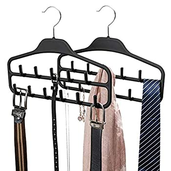 FairyHaus Belt Hanger Organizer 2 Pack Non Slip Tie Rack Holder Durable Hanging Closet Accessory Hooks for Belts Ties Jewelry Scarves Tank Tops Black