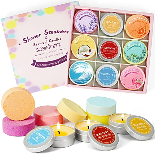 SCENTORINI 9 Bombas de Ducha con Velas Perfumadas Tabletas de Ducha Set de Regalo de Aceites Esenciales Natural para Aromaterapia, Regalo para Niños Mujeres y Día de la Madre