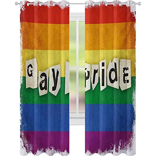Cortinas opacas impresas, con diseño de bandera de arco iris con texto en inglés 'Gay Pride Typography', diseño retro LGBT desfile, 2 paneles de ancho de 52 x 72 para sala de estar, multicolor