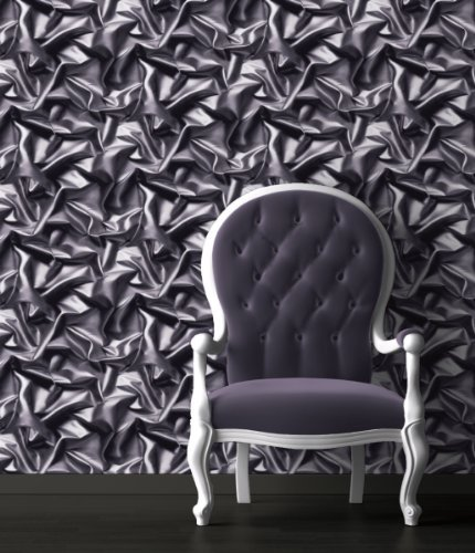 Grey-Black - F72909 - 3D Gathered Silk Effect - Crushed Velvet - Muriva Wallpaper by UGEPA