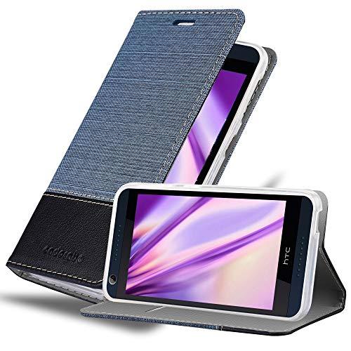 Cadorabo Hülle für HTC Desire 626G - Hülle in DUNKEL BLAU SCHWARZ – Handyhülle mit Standfunktion & Kartenfach im Stoff Design - Case Cover Schutzhülle Etui Tasche Book
