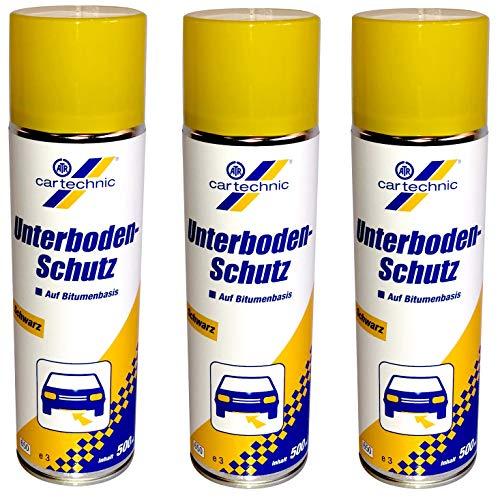 Cartechnic 3 x 500ml Bitumen Unterbodenschutz schwarz Korrosionsschutz