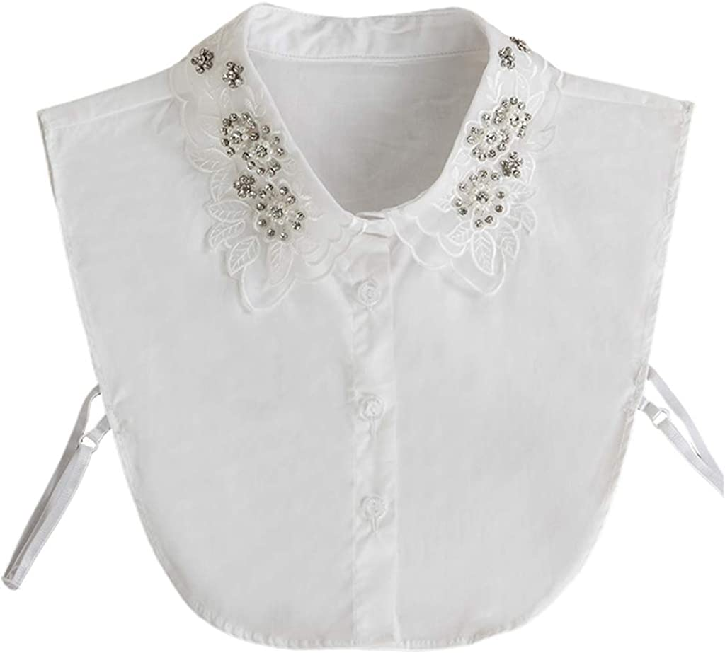YOUSIKE Neck Chain, Women Colleage Style Detachable Fake Collar Rhinestone Faux Pearls Embroidery Floral Leaves Lace Lapel Sweater Half-Shirt Necklace