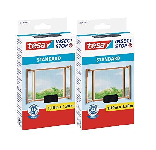 tesa® Insect Stop STANDARD Fliegengitter für Fenster - Insektenschutz zuschneidbar - Mückenschutz ohne Bohren - Fliegen Netz anthrazit, 110 cm x 130 cm (2)